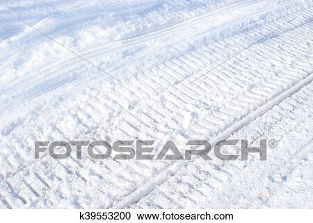 Winter Snowmobile Tracks Stock Image