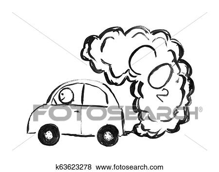 Black Ink Hand Drawing Of Car Producing Co2 Air Pollution Stock Photo