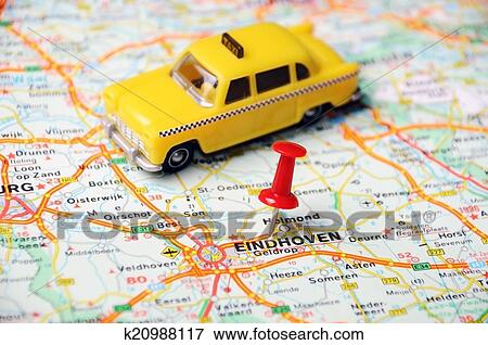 Eindhoven, Holland map taxi Stock Photo