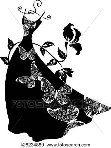Elegante, silhouette., mujer hermosa, con, flores, y, bags. Clip Art