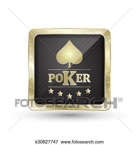Golden Poker Icon With Card Symbol Illustration Clip Art K30627747 Fotosearch