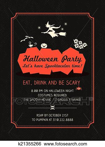 clip art halloween party flyer template fotosearch search clipart illustration posters