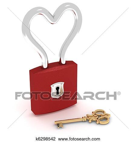 Clip Art Of Heart Lock K6298542 Search Clipart Illustration