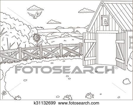 Clip Art - libro colorear, granja, caricatura, educativo ...