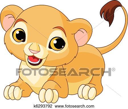 clipart of raring lion cub k6293792 search clip art illustration rh fotosearch com free lion cub clipart cartoon lion cub clipart