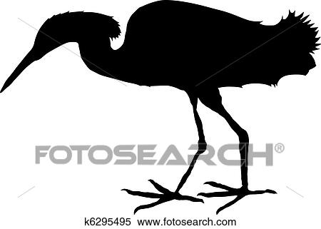 clipart of silhouette of egret k6295495 search clip art