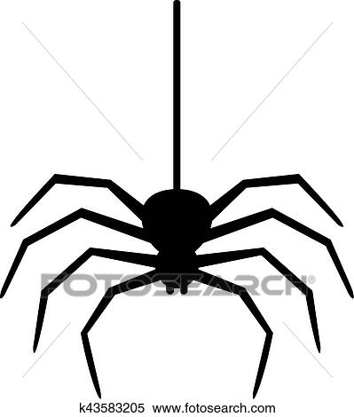 Spider Hanging On A Thread Clipart