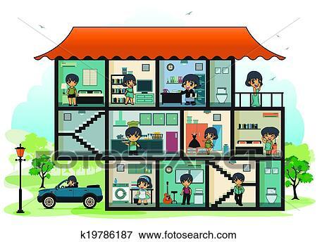 Clip Art Unterschiedliche Zimmer Haus K19786187 Suche Clipart