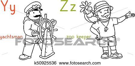 Clip Art Abc Berufe Ausmalbilder Set K50925536 Suche Clipart
