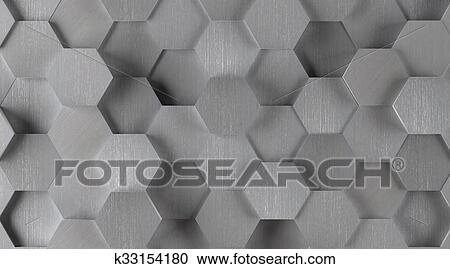 Galleria di illustrazioni argento esagonale piastrella fondo
