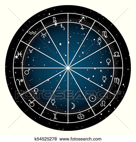 Clip Art Of Astrology Zodiac With Natal Chart Zodiac Signs And