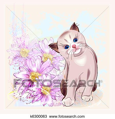 Clipart Of Birthday Card With Thai Kitten And Gerberas K6300063