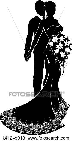 Clipart of bride and groom wedding silhouette k41245013 search a bride and groom couple silhouette wedding illustration the bride in a bridal dress gown with abstract floral pattern holding a floral bouquet of flowers junglespirit Gallery