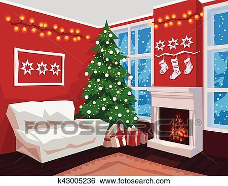Christmas Fireplace Scene Clipart.Colorful Christmas Room Interior Vector Illustration Scene For Your Artwork Clip Art