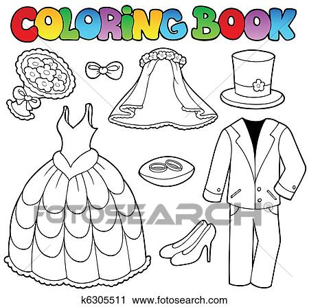 Clipart Of Coloring Book With Wedding Clothes K6305511