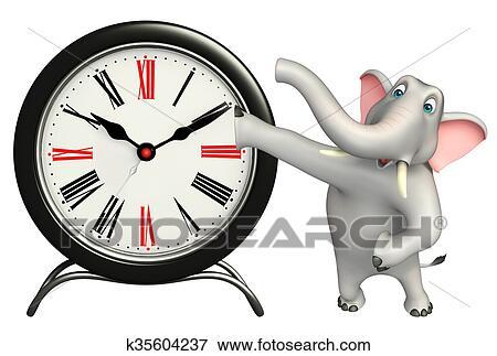 Elefante cartone animato carattere con orologio archivio