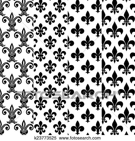 stock illustration of fleur de lys patterns k23773525 search