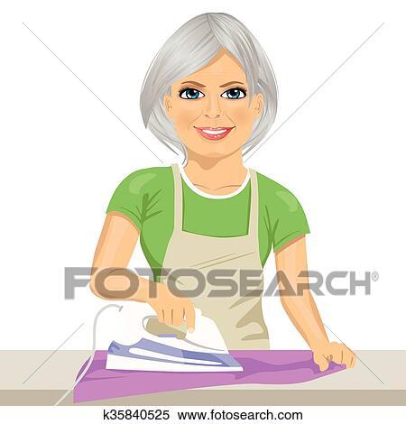 Glücklich ältere Frau Wäschebügeln Clothes Hausarbeit Clipart