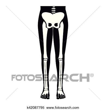 Clipart of half body silhouette system bone with leg bones k42087795 ...