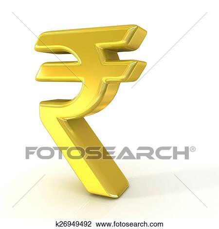 Clip Art Of Indian Rupee 3d Golden Sign K26949492 Search Clipart