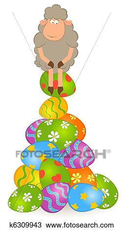 Pascoa Sheep Com Ovo Colorido Desenho K6309943 Fotosearch