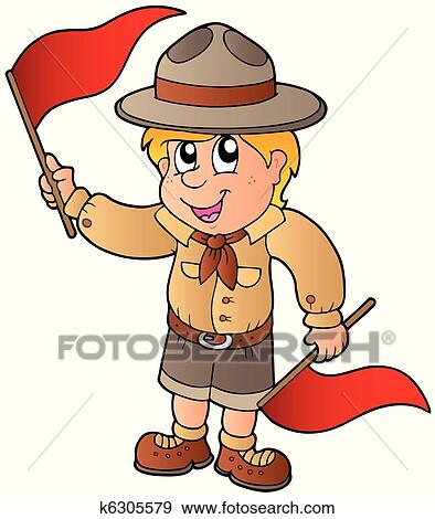 clip art of scout boy giving flag signal k6305579 search clipart rh fotosearch com thanksgiving clipart giving clipart free