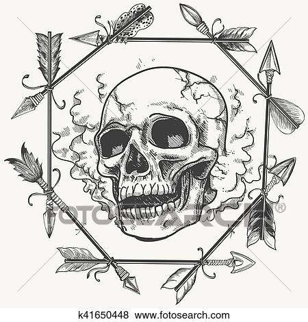 Clip Art of Sketch smoke skull and arrows frame k41650448 - Search ...