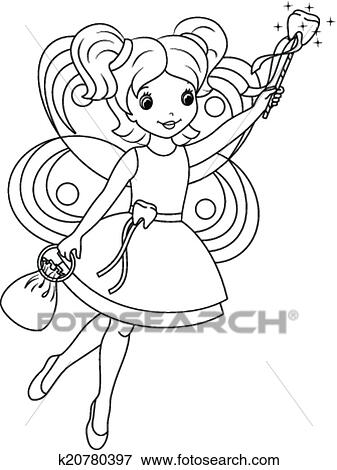 Tooth fairy coloring page Clip Art | k20780397 | Fotosearch