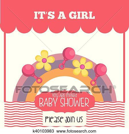 Baby Shower Invitation Card Design Clipart K40103983