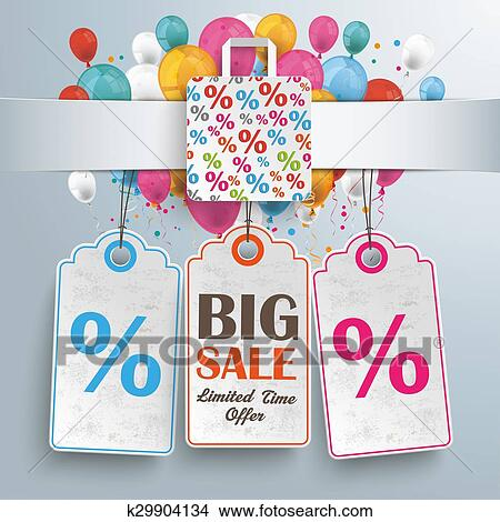 Banner Percentage Shopping Bag Balloons Price Stickers Stock Illustration