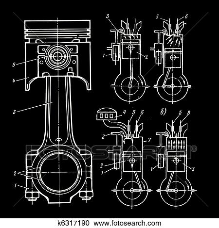 clipart of blueprints of pistons k6317190 search clip art