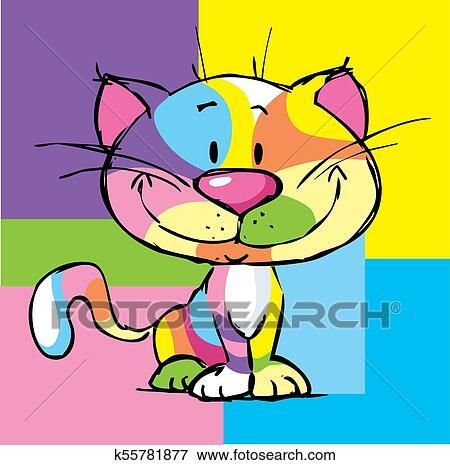 clip art of cute kitty cartoon colorful cat pop art design frame