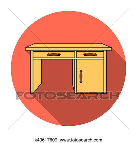 Colección de ilustraciones - escritorio de oficina, icono, en, plano ...