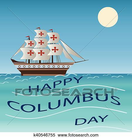 Clipart - glücklich, kolumbus tag, feiertag, schiff, vektor ...
