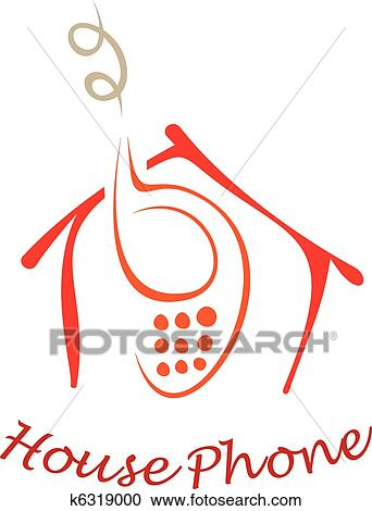 Clipart Of House Phone K6319000 Search Clip Art Illustration