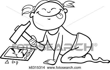 Mädchen Zerstören Smartphone Für Ausmalbilder Clipart K6315314