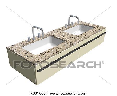Moderne, évier salle toilette, ensemble, à, granit, compteur, et, chrome,  accessoires, 3d, illustration, isolé, contre, a, fond blanc Banque ...