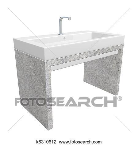 Clipart - moderne, évier salle toilette, ensemble, à, céramique, ou ...