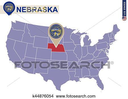 Clipart Of Nebraska State On Usa Map Nebraska Flag And Map