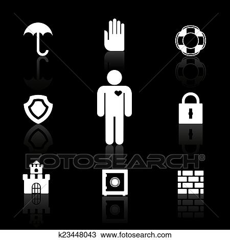 Clipart Of Safety And Insurance Symbols K23448043 Search Clip Art