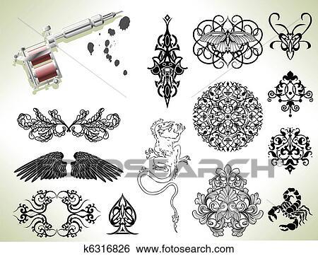 Clip Art Of Tattoo Flash Design Elements K6316826 Search Clipart