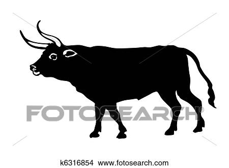 clipart of vector illustration oxen on white background k6316854 rh fotosearch com Cartoon Oxen oven clipart image