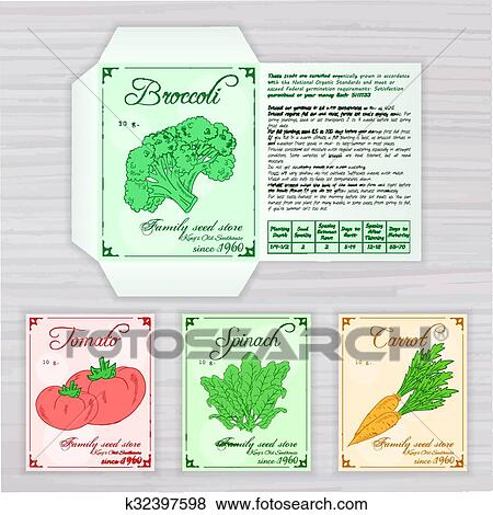 Clip Art Of Vector Printable Template Seed Packet With Image