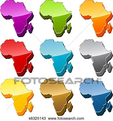Africa map icon set Drawing | k6325143 | Fotosearch