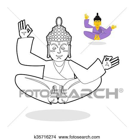 Clipart Of Buddha Coloring Book Buddha Meditating Indian God