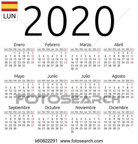 Vector De Calendario 2020.Calendar 2020 Spanish Monday Clipart
