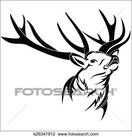Clipart cerf t te k26347912 recherchez des clip arts des illustrations des dessins et des - Dessin de tete de cerf ...
