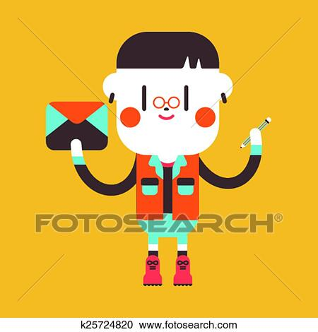 Clipart Of Character Illustration Design Boy Writing Letter Cartoon
