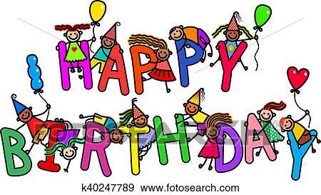 Stock Illustration Of Happy Birthday Kids K40247789 Search Vector