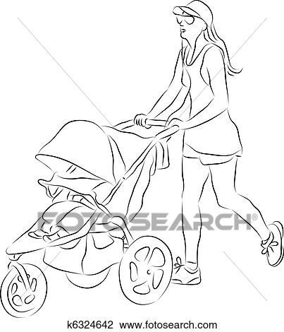 Clipart maman pousser poussette b b k6324642 - Poussette dessin ...